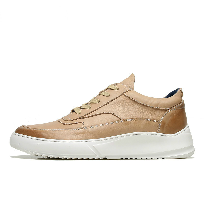 Ecco Men's Leather Shoes Casual Gold Sneakers Men Shoes Anti-slip Black Bottom White Increased Man Casual Shoes 515379