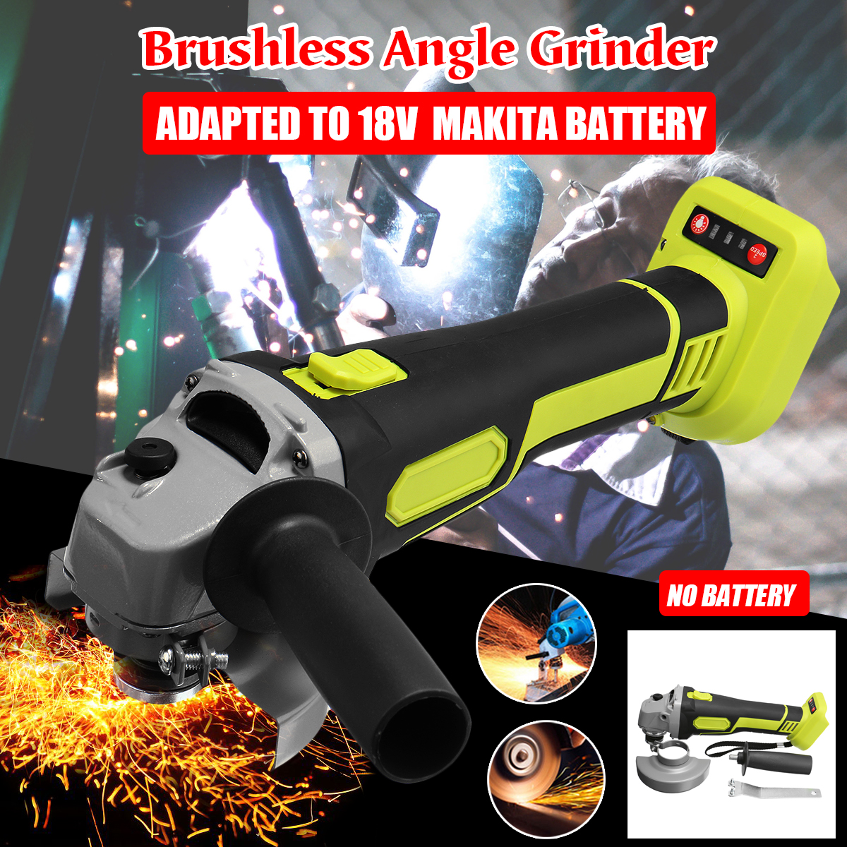 100mm 125mm Brushless Cordless Angle Grinder Variable 4 Speed Grinder Machine For 18V Makita Battery Without Battery