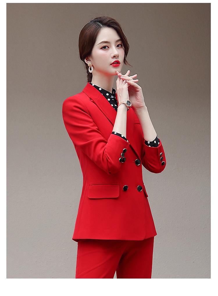 Color : Red, Size : S UUYUU Femmes Bureau Costumes Lady Pantalon De Haute Qualit/é OL Blazer Vestes De Costume avec Longueur Cheville Pantalon Rouge Deux Set Pieces Costume
