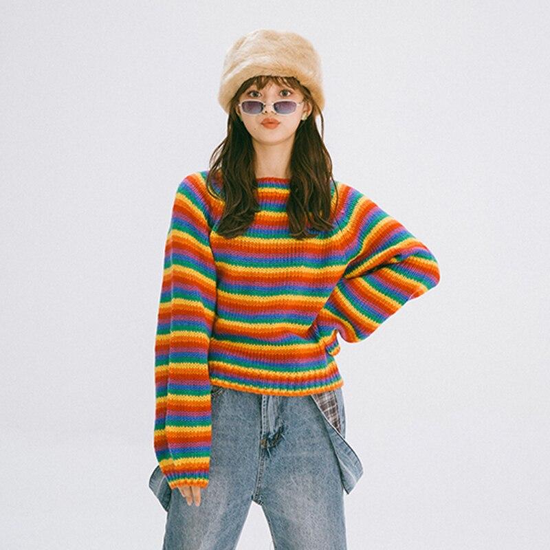 Focal20 Casual Rainbow Stripe Women Sweater Color Block Autumn Women Sweater Loose Long Sleeve Crew Neck Lady Sweater