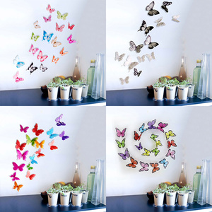 12pcs/set DIY Wall Sticker 3D Butterfly Stickers for Beautiful Wall Decals Colorful Butterflies Fridge Kitchen Living Room Decor(China)