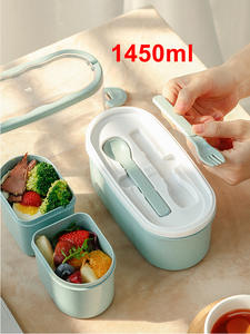 Meal Prep Containers Lunchbox Bento-Box Wheat-Straw Eco-Friendly Japanese 1450ML