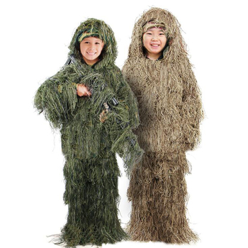 Children Kids Hunting clothes 3D maple leaf Bionic Ghillie Suits Yowie sniper Camouflage Suit birdwatch airsoft Camouflage Set 1