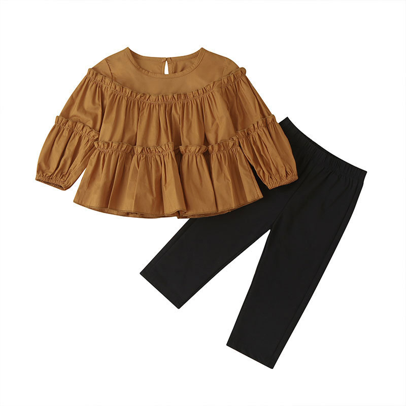 Fashion Kids Clothes Girls Outfit Spring Autumn Toddler Girl Clothing Set Long Sleeve Brown Tops+Black Pants Children Clothing