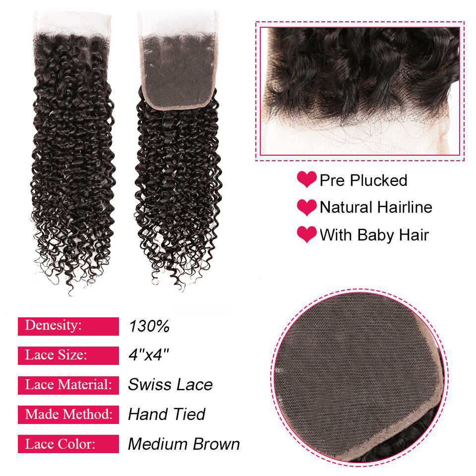 Alibaby Malaysian Jerry Curl Hair Extension NonRemy Human Hair Bundles With Closure Natural Color 100% Human Hair Weave Bundles