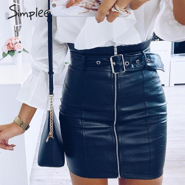 Simplee Sash zipper high waist short skirt Sexy black PU leather pencil mini skirts Autumn winter party wear ladies women skirts 3