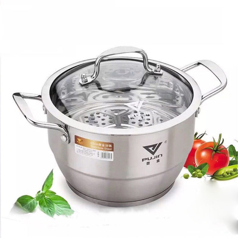 Stainless Steel Pot Small Steamer Double Thickening Cooking Dual-use Pot One or Two Layer Soup Pot Stew Pot Steamer Pot  Bamboo
