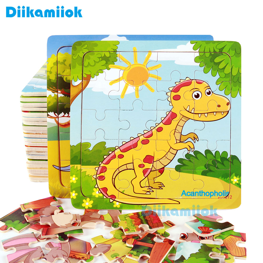 Sale New 20 Piece Wooden Puzzle Kids Toy Baby Wood Jigsaw Puzzles Cartoon Dinosaur Animal Early Educational Toys For Children