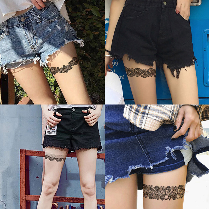 2019 Watertransfer Lace Stocking Sexy Waterproof Temporary Halloween Wedding Cosplay Tattoo Sticker For Girl Women