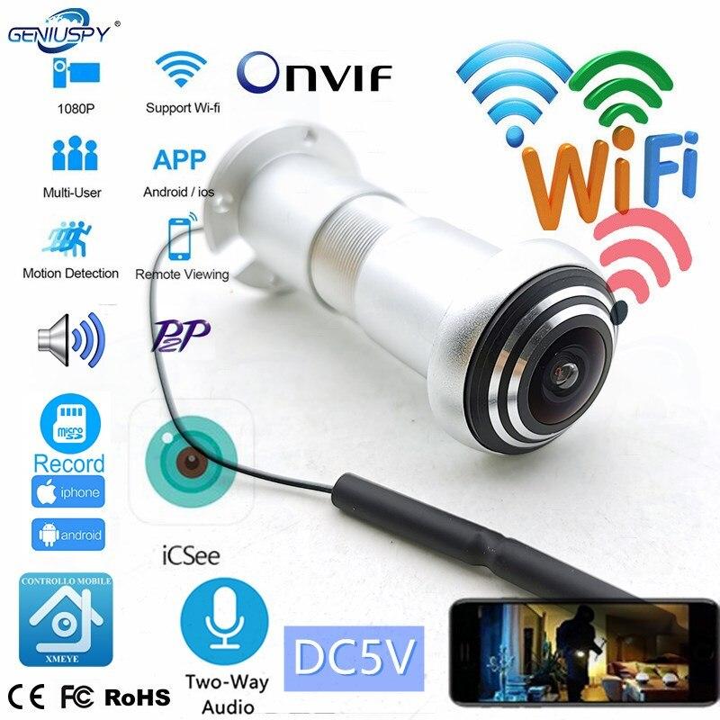 Беспроводной двухсторонний аудио дверной глазок для дома 1080P 1,66 мм рыбий глаз сетевой мини глазок Wi-Fi дверная IP-камера P2P ICSEE слот для TF-карты