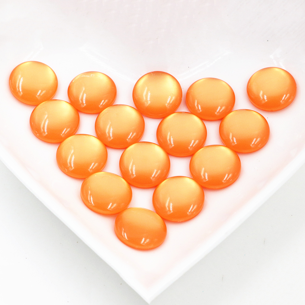 New Fashion 40pcs 12mm Orange Color Flat Back Resin Cabochons Cameo  G6-11