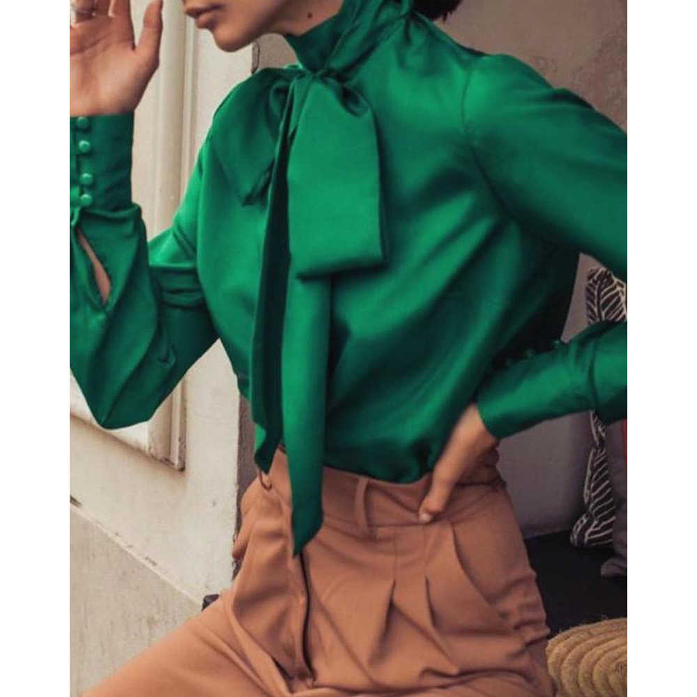 2020 Spring Elegant Bow Turtleneck Satin Blouse Women Autumn Casual Long Sleeve Buttons Loose Office Fashion Shirts Blouse Tops