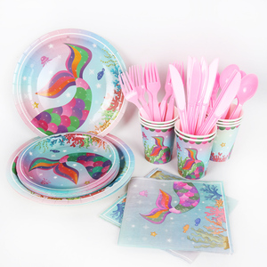Image 5 - 1st Girl Happy Birthday Party Set Mermaids Party Tableware Paper Cups Plate Latex Balloons stand Baby Shower Party Decorations
