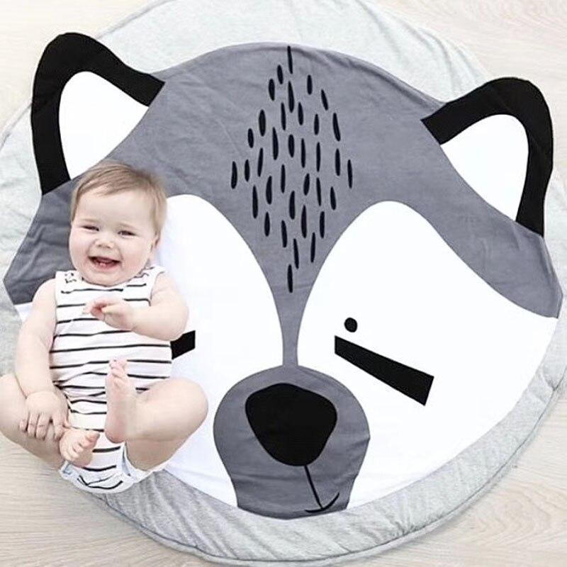 Baby Play Mats Kids Carpet Toys Cartoon Animal Children's Mat Crawling Blanket Round Floor Pad Rugs For Kids Nursery Room Decor