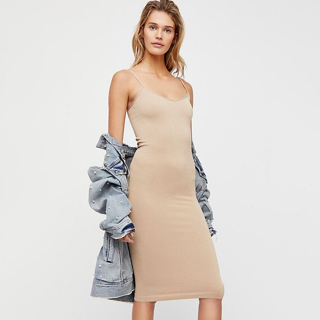 Seamless Nude Slip 2020 Summer Autumn Women Adjustable Strap Sexy Vestidos Short Dress Stretchy Casual Bodycon Slim Mini Dress 4