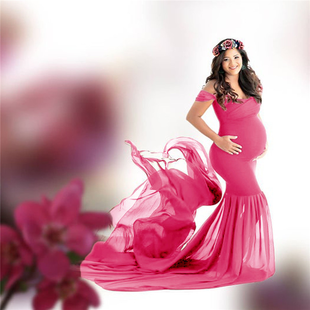 Long Maternity Photography Props Pregnancy Dress For Photo Shooting Off Shoulder Pregnant Dresses For Women Maxi Maternity Gown (2)