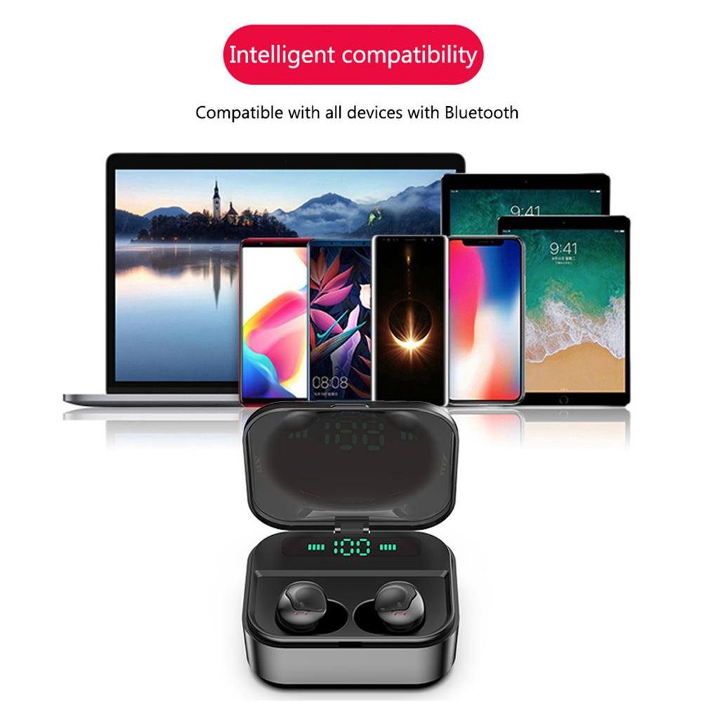 TWS Wireless Bluetooth Headset 5 0 In Ear with LED Digital Power display Sports Earphone Waterproof HiFi earphone Charging Box in Bluetooth Earphones Headphones from Consumer Electronics