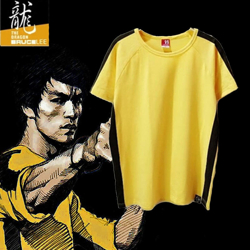 Bruce Lee Shirt Kung Fu Leica Cotton Sports Short Sleeves Jeet Kune Do Chinese Tai Chi Wushu Costume Kampfsport Wing Chun