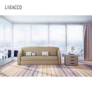 Image 4 - Laeacco סלון שיחת וידאו פנים דקור Photophone ספה חלון שטיח צילום רקע תמונה תפאורות תמונה לירות