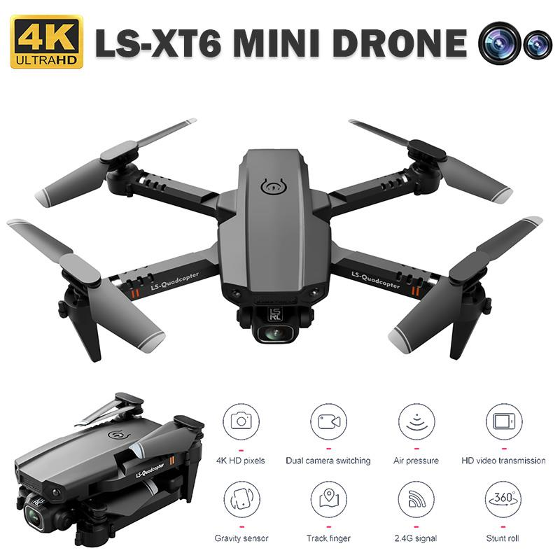 LSRC-XT6 Mini Drone 4K HD Camera 1080P Wifi FPV Camera Drone RC Quadcopter Foldable HD Flying Drone Altitude Hold RC Dron