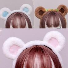 Mulheres doce de pelúcia bonito urso orelhas bandana acessórios para o cabelo marrom urso cor café japonês kc lolita doce cocar cosplay