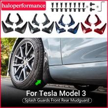 Model3 acessórios do carro abas de lama para tesla modelo 3 2021 acessórios respingo guarda-lamas fender fibra carbono preto fosco abs