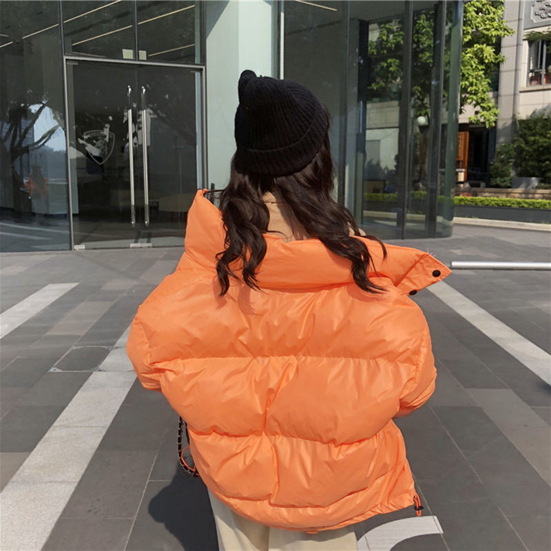 Bright Colors Winter Jacket Women Parka Warm Thick Solid Short Style Cotton Padded Parkas Coat Loose Stand Collar Outwear - 3