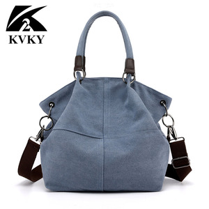 Image 1 - High Quality Canvas Women Handbag Casual Large Capacity Hobos Bag Hot Sell Female Totes Bolsas Trapeze Ruched Solid Shoulder Bag