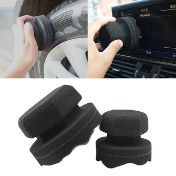 8 11 Cm wosk samochodowy gąbka do mycia ułatwia szczegóły fala typ opon bandaż narzędzia sześciokątne chwyta aplikator opon wosk tanie i dobre opinie JOSHNESE circular Black Car waxing sponge 8 (mm) Tire Leather