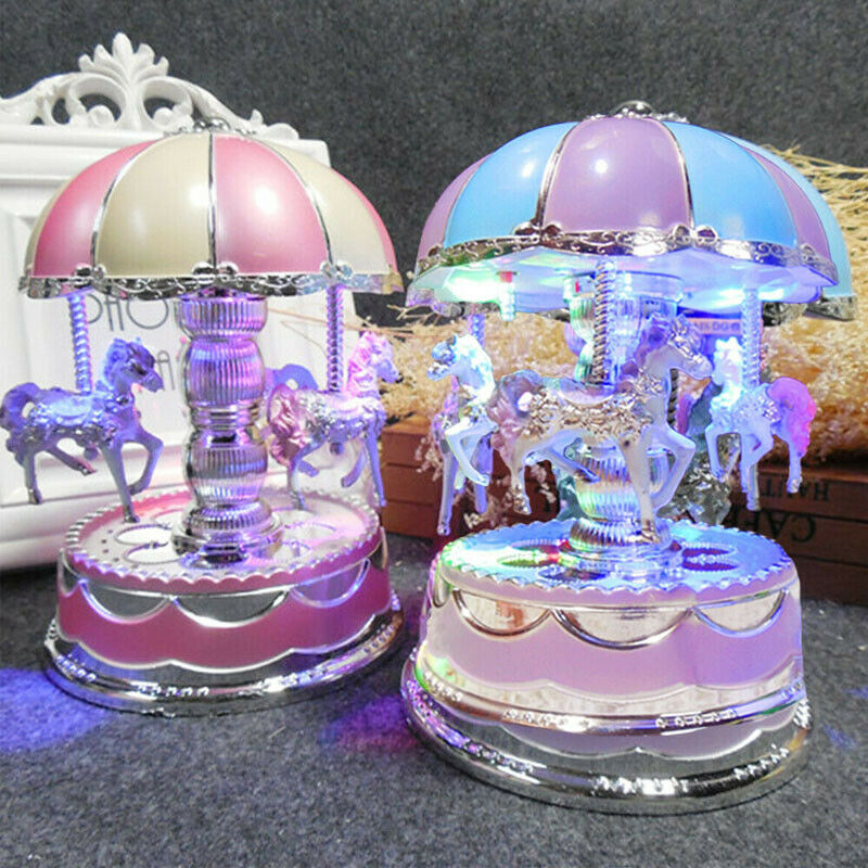 Imcute Merry-go-round Music Box Toy Child Baby Game Home Decor Carousel Horse Music Box Christmas Wedding Birthday Gift