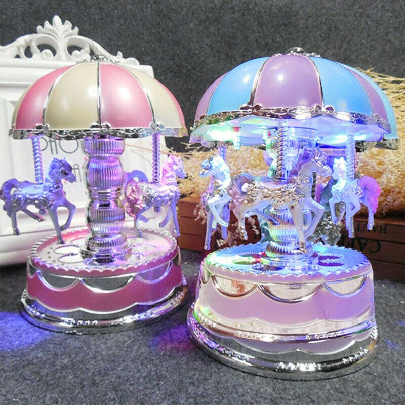 Imcute Merry-go-round Music Box Toy Child Baby Game Home Decor Carousel Horse Music Box Christmas Wedding Birthday Gift