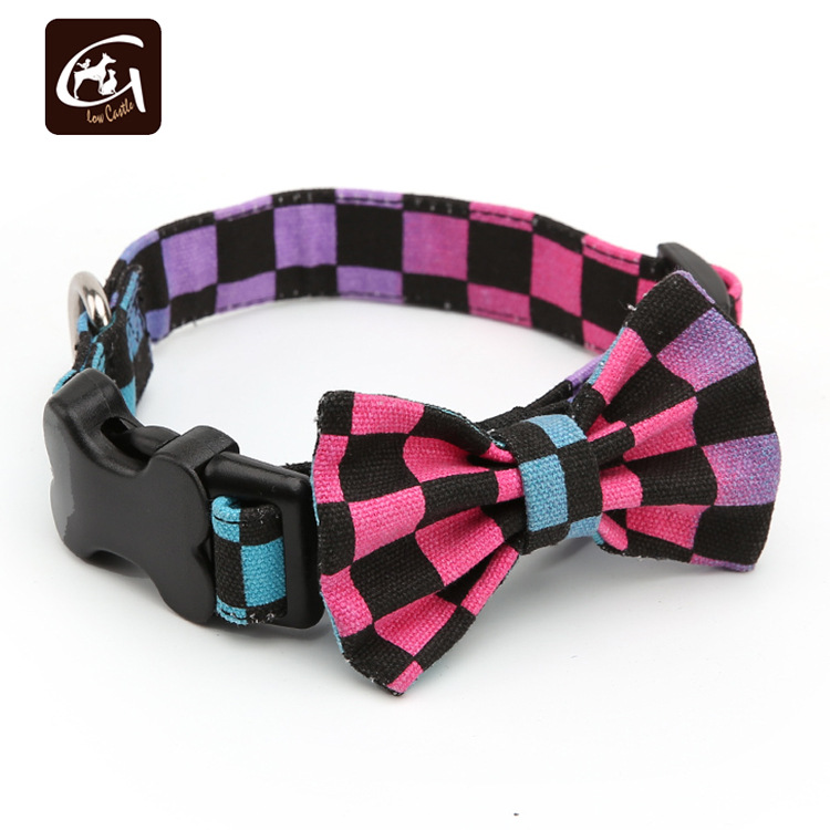 British Style Plaid Dotted Heart Colorful Canvas Bow Neck Ring Bone Buckle Pet Dog Neck Ring Bow