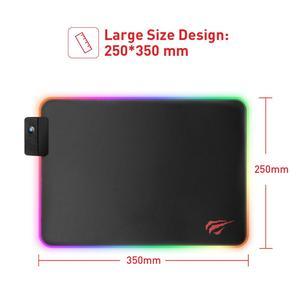 Image 2 - لوحة ماوس ألعاب HAVIT RGB USB LED 14 مجموعة من الأضواء لوحة مفاتيح مضيئة ممتدة بطانية غير قابلة للانزلاق بساط 350*250 و 800*300