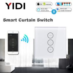 Wi fi elétrica inteligente interruptor de cortina tuya app voz controle remoto interruptor toque para automized cortina do motor do obturador rolo cego