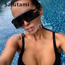 Polarized Oversize Windproof Sunglasses For Women Luxury Brand Rimless One Piece