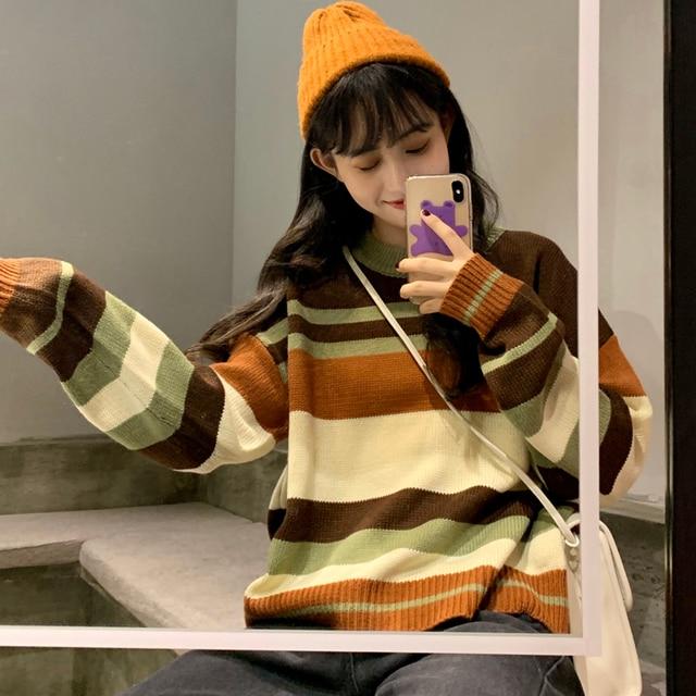 Chique bonito retro listrado solto suéter feminino suéteres kawaii japonês ulzzang harajuku coreano feminino roupas para mulher