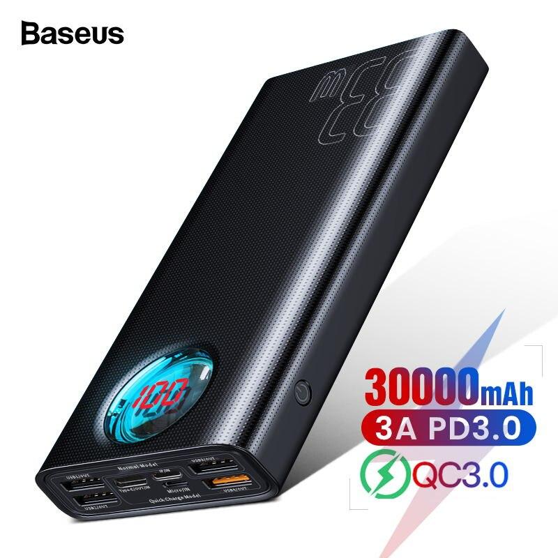 Baseus 30000 mAh batterie externe USB C PD Charge rapide 3.0 30000 mAh Powerbank pour Xiaomi iPhone 11 chargeur de batterie externe Portable