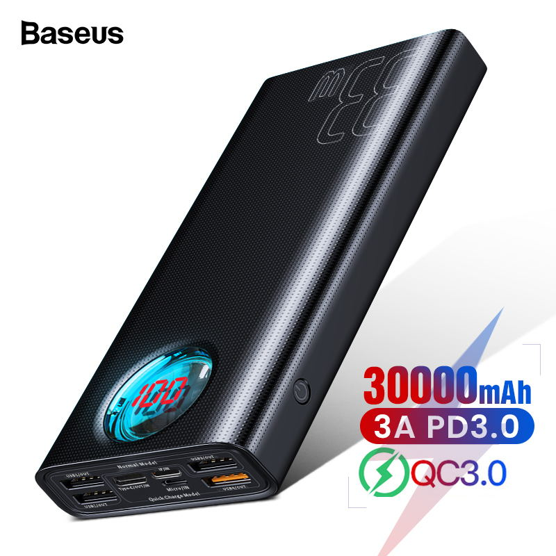 Baseus 30000mAh <font><b>Power</b></font> <font><b>Bank</b></font> USB C PD Quick Charge 3.0 <font><b>30000</b></font> <font><b>mAh</b></font> Powerbank For <font><b>Xiaomi</b></font> iPhone 11 Portable External Battery Charger image