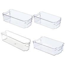 Fridge Organizer Storage Bins (4Pcs) Stackable Freezer & Refrigerator Organizer Container for Kitchen, Pantry, Drawer