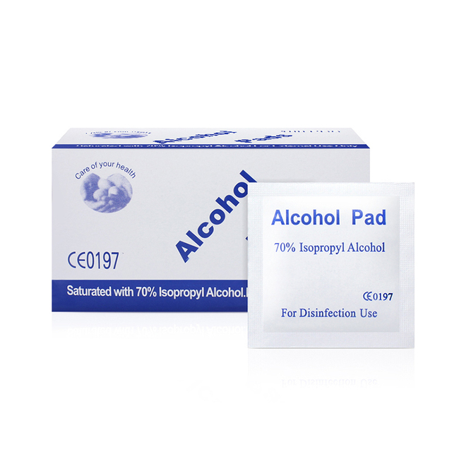 100pcs/lot 70% Alcohol Prep Swap Pad Wet Wipe for Antiseptic Skin Cleaning Care Jewelry Mobile Phone Clean 5