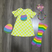 spring/summer baby girls outfits dress plaid bunny cotton milk silk clothes knee length match socks bow necklace and purse