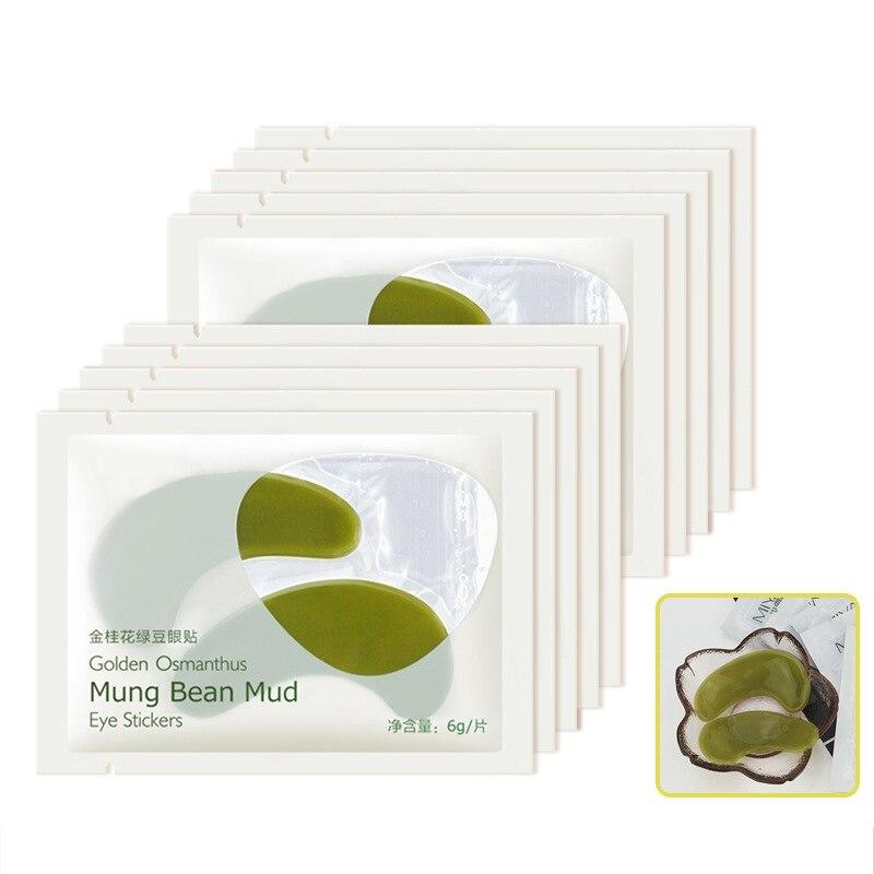 1Pair Green Mung Bean Crystal Eye Mask Gel Eye Patches Eye Care Sleep Masks Remover Panda Eye Anti Age Bag Eye Wrinkle Patch