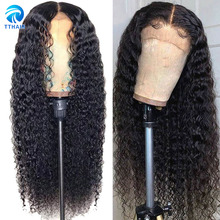 Wig 13x4 Human-Hair Lace Closure Curly Lace-Front Pre-Plucked Straight 150