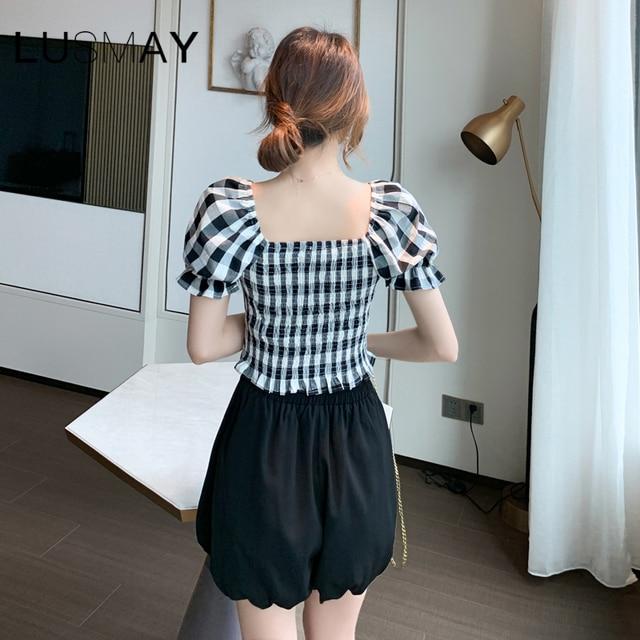 Vintage Plaid Bow Design Square Collar Casual Crop Top Women Puff Short Sleeve Top Black Blue 2