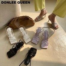 2020 Fashion Brand Sandals Women High Heels Ankle Strap Gladiaror Sandal Shoes Women Narrow Band Back Strap Sandal zapatos mujer