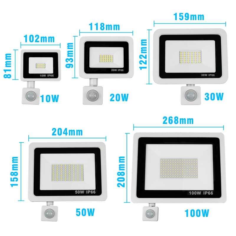 10W 20W 30W 50W 100W PIR Sensor LED Flood light Cool// Warm White Lamp 220-240V