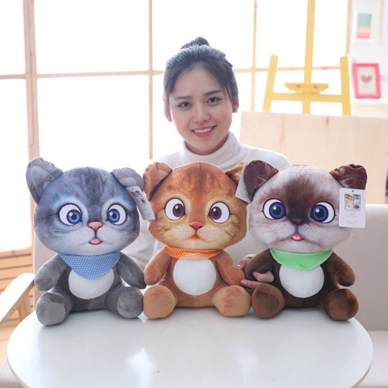 Cute Soft 3D Simulation Stuffed Cat Toys Plush Animals Cartoon Cat Doll Children Toy Plush Kitty Soft Animal Dolls Birthday Gift