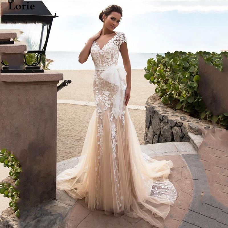 Lorie Champagne Wedding Dress Mermaid Bohemia Vestido De Novia  Bridal Dress Lace Appliqued Wedding Gowns Cap Sleeves