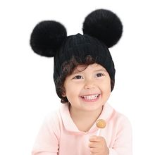 Baby Hat Double Hair Ball Cute Boys Girls Warm Winter Wool Knit Beanie Fur Pom Poms Children Thick For Kids Knitting Caps(China)