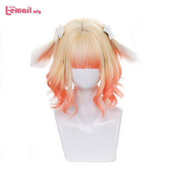 L-email wig Blonde Mixed Pink Lolita Wigs with Ears Gradient Loose Wave Sweet Harajuku Cosplay Wig Heat Resistant Synthetic Hair l email wig new fgo game character cosplay wigs 10 color heat resistant synthetic hair perucas men women cosplay wig